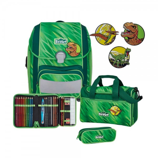 Scout Genius Schulranzen-Set 4tlg. Green Rex