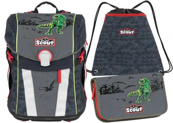 Scout Sunny Schulranzen-Set 3tlg. Green Dino