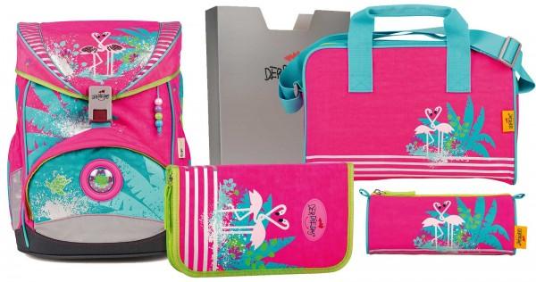 DerDieDas ErgoFlex XL Schulranzen-Set 5tlg. Flamingo