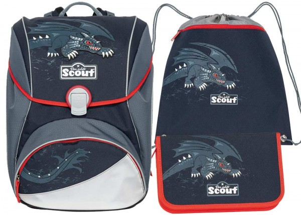 Scout Alpha Schulranzen-Set 3tlg. Black Dragon