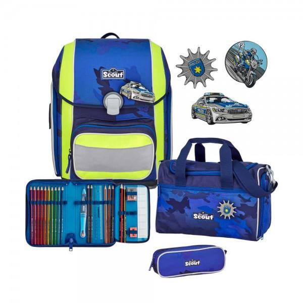 Scout Genius Schulranzen-Set 4tlg. Blue Police