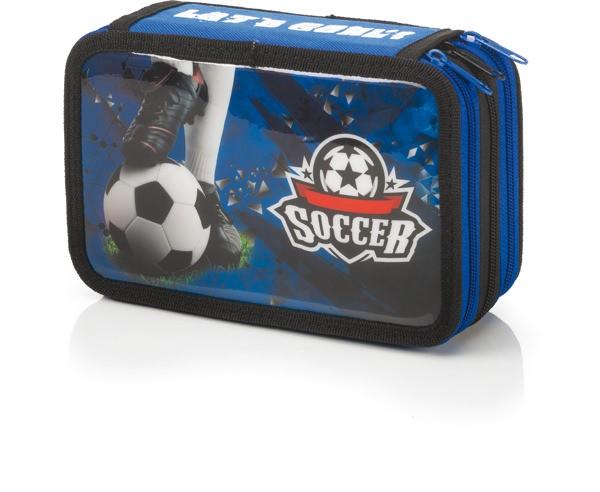 "3-fach Federmäppchen Federmappe ""Let´s Goal Soccer"" blau"