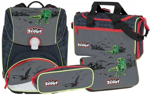 Scout Alpha Schulranzen-Set 4tlg. Green Dino