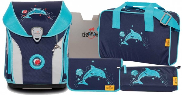 DerDieDas ErgoFlex MAX Schulranzen-Set 5tlg. Glitter Dolphin