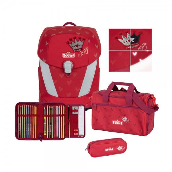 Scout Sunny II Schulranzen-Set 4tlg. Premium Red Princess